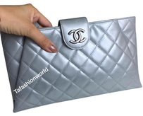 Chanel calfskin silver clutch with ruthenium hardware Silver Clutch