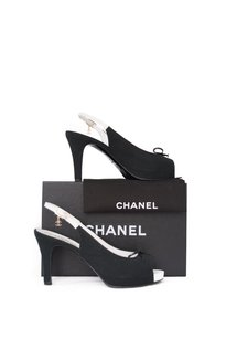 Chanel Slingback Gold Hardware Black and White Sandals