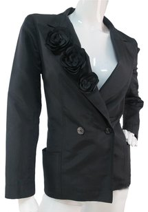 Chanel Chanel 100 Silk Black Blazer Jacket Camelia Lapel