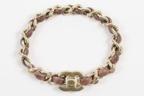 Chanel Chanel 12p Gold Tone Brown Leather Cc Logo Turnlock Chain Bracelet