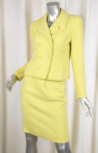 Chanel Chanel 96c Vintage Womens Chartreuse Yellow Mohair Tweed Skirt Suit 342