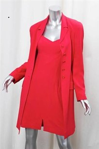Chanel Chanel 97p Womens Red Rayon Longline Jacket Blazerdress Suit Outfit Set 384