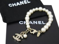 Chanel CHANEL A13A Pearl Links Chain Charm Gold/White Faux Pearl/Rhinestone