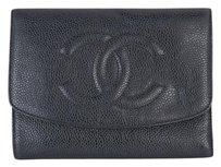 Chanel CHANEL Black Caviar Leather Wallet