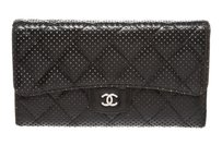 Chanel Chanel Black Lambskin Leather Perforated Trifold Wallet
