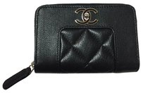 Chanel Chanel Black Mademoiselle Zip Around Wallet Card Holder Coin Purse