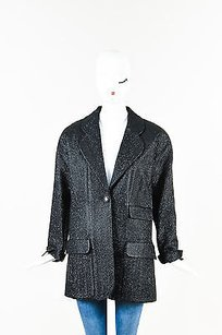 Chanel Chanel Black Metallic Silk Blend Coated Tweed Single Button Blazer Jacket
