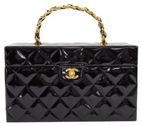Chanel Chanel Black Patent Leather Cosmetic Hand Bag
