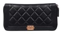 Chanel Chanel Black Quilted Boy Wallet Clutch