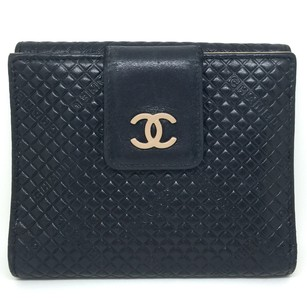 Chanel Chanel Black Quilted Compact Wallet Purse