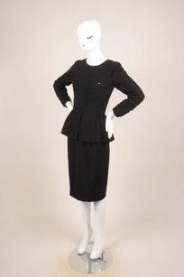 Chanel Chanel Black Wool Peplum Top And Pencil Skirt Set