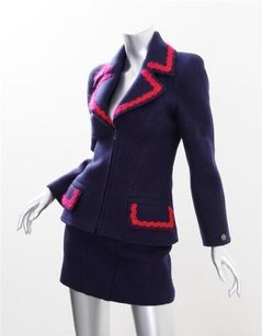 Chanel Chanel Boutique Womens 97a Navy Wool Zip Up Fitted Short Skirt Suit Outfit