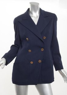 Chanel Chanel Boutique Womens Vintage Navy Wool Double-breasted Jacket Coat 408
