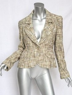 Chanel Chanel Brown Earthy Boucle Tweed Classic Single Button Blazer Jacket Coat M40