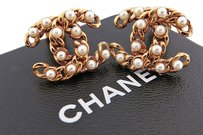 Chanel CHANEL CC Logo Chain Design Faux Pearl Clip On Earrings