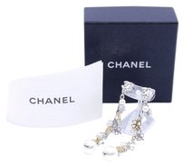 Chanel CHANEL CC LOGO Clover and Heart with Immitation Pearl Earrings Gold