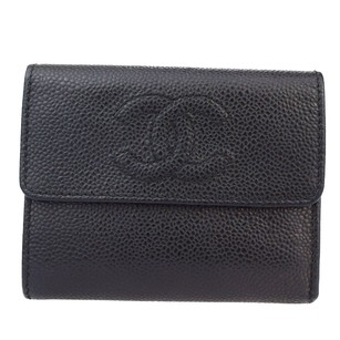 Chanel CHANEL CC Logos Black Trifold Wallet Purse