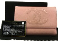 Chanel CHANEL CC WALLET CAVIAR SKIN LEATHER PINK ITALY VINTAGE BOX