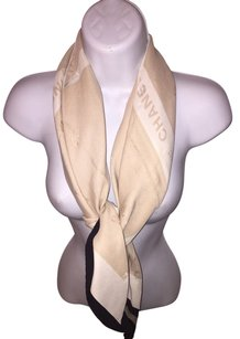 Chanel CHANEL champagne / cream / black LARGE silk SCARF with Bow-tie motif