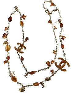 Chanel Chanel Chanel Classic CC Gold, Pearl, Amber Charm Long Necklace