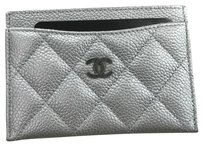 Chanel Chanel Classic Card Case Holder in Silver Caviar Leather Ruthenium Hardware
