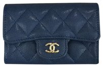Chanel Chanel Classic Flap Card Holder in Navy Blue Caviar Leather