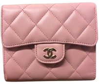 Chanel Chanel Classic French Flap Trifold Wallet Pink Lambskin Gold Hardware