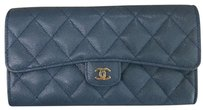 Chanel Chanel Classic Long Flap Wallet in Blue Caviar Leather