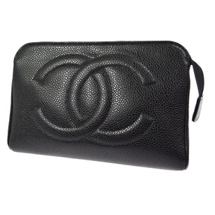 Chanel CHANEL Cosmetic Pouch Hand Bag Black