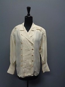 Chanel Chanel Cream Long Sleeved Button Down Pleated Blazer Jacket Sm1255