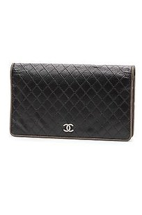 Chanel Chanel Dark Blue Calfskin Diamond Quilt Long Wallet