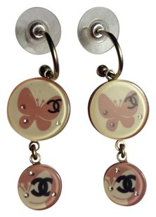 Chanel Chanel Earrings Butterfly CC Logo Resin Circle Disk Pink Black Gold Dangling Drop Crystal Charm Inlaid 07P