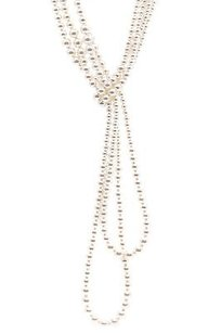 Chanel Chanel Gold-tone Pearl Cc Multi-strand Lariat Necklace