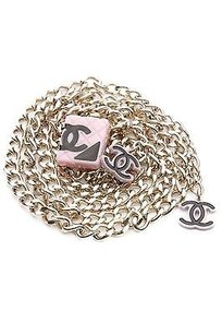 Chanel Chanel Gold-tone Pink Cambon Cc Chain Belt Size 35