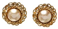 Chanel Chanel Gold Vintage Faux Pearl Round Clip On Earrings 208038