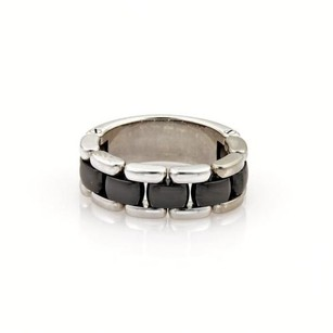 Chanel Chanel Ultra 18k White Gold Black Ceramic Flex Chain Band Ring