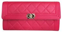 Chanel Chanel Le Boy Long Flap Wallet in Pink Caviar Leather