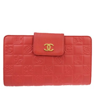 Chanel CHANEL Long Bifold Wallet Leather Red