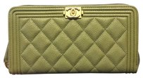 Chanel Chanel Long Boy Zip Around Wallet in Khaki Green Caviar Gold HW
