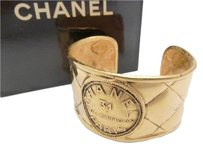 Chanel CHANEL Matelasse 31 Rue Cambon Bangle Bracelet Goldtone w/ box