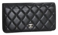 Chanel CHANEL Matelasse Bifold Long Wallet Leather