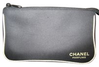 Chanel Chanel Parfums cosmetic/makeup soft bag or pouch zip closure. Black canvas with Gold sparkly trim.