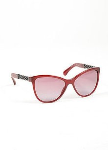 Chanel Chanel Red Silver Tone Acetate Metal 5326 Chain Link Butterfly Sunglasses