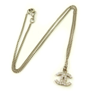 Chanel Chanel Silver Rhinestone CC Necklace 12 V