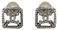 Chanel Chanel Strass CC Rectangular Earrings in Silver