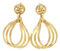 Chanel CHANEL Vintage 96P Drop CC Logo Clip-On Earrings Goldtone *Worn-out*