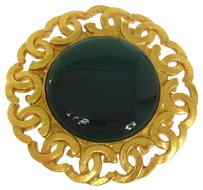 Chanel CHANEL VINTAGE CC LOGOS GREEN STONE BROOCH PIN CORSAGE FRANCE