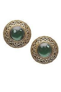 Chanel Chanel Vintage Gold-tone Green Gripoix Clip-on Earrings