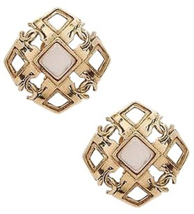 Chanel Chanel Vintage Gold-tone Mother Of Pearl Cc Clip-on Earrings