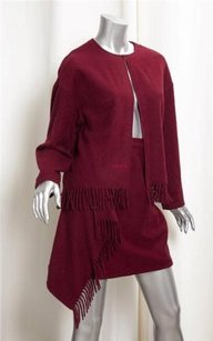 Chanel Chanel Vintage Maroon Red Cashmere Fringe Detail Skirt Suit Outfit Sz.38